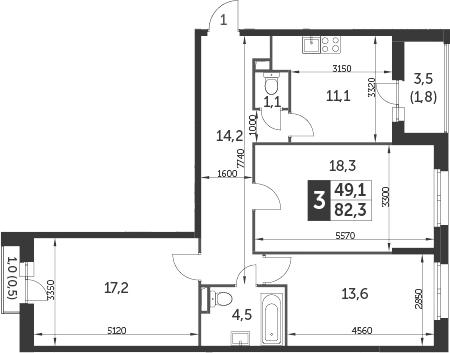 3-комнатная, 82.3 м²– 2