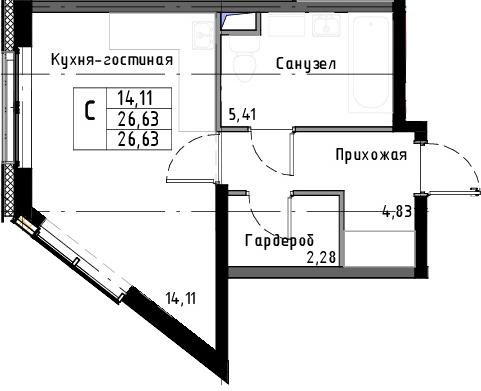 Студия, 26.63 м²