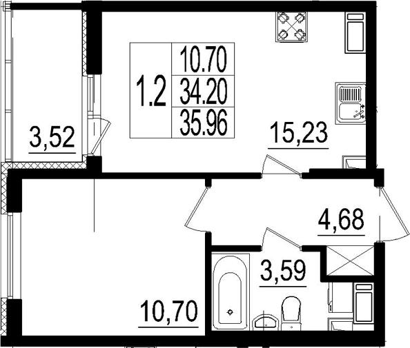 2Е-комнатная, 34.2 м²– 2