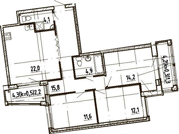 4Е-комнатная, 88.2 м²– 2