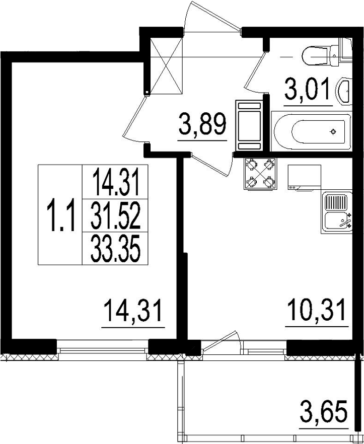 1-комнатная, 31.52 м²– 2