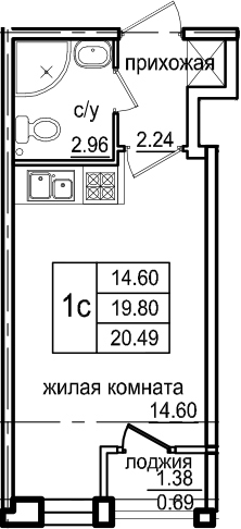 Студия, 20.49 м², 1 этаж