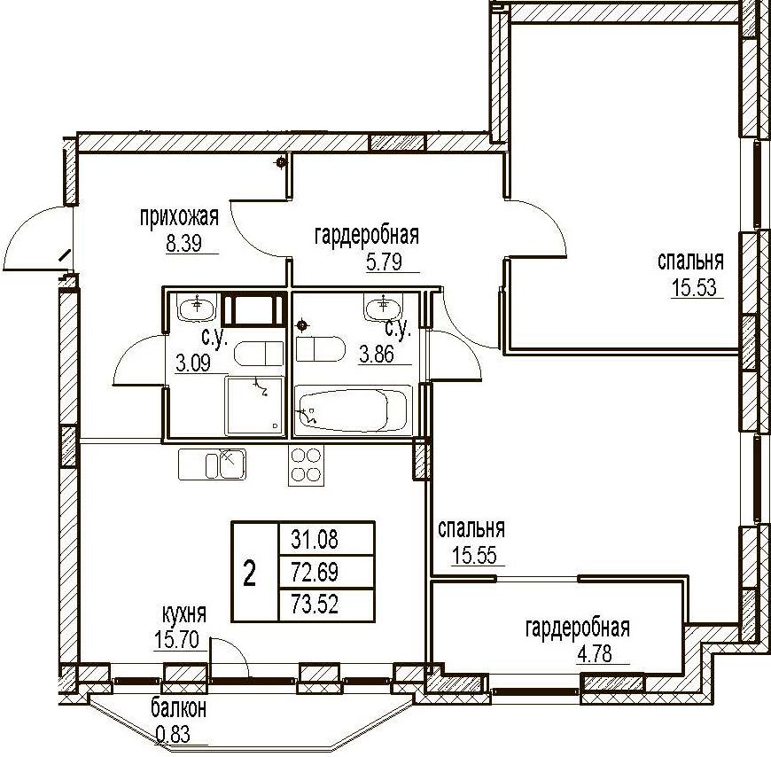 2-комнатная, 73.52 м²– 2