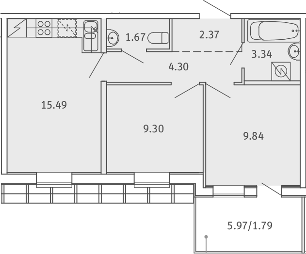 3Е-к.кв, 48.1 м²