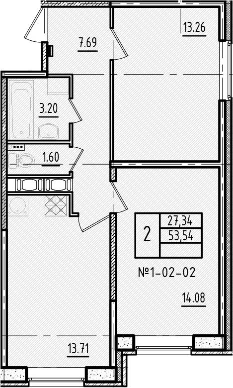 2-к.кв, 53.54 м²
