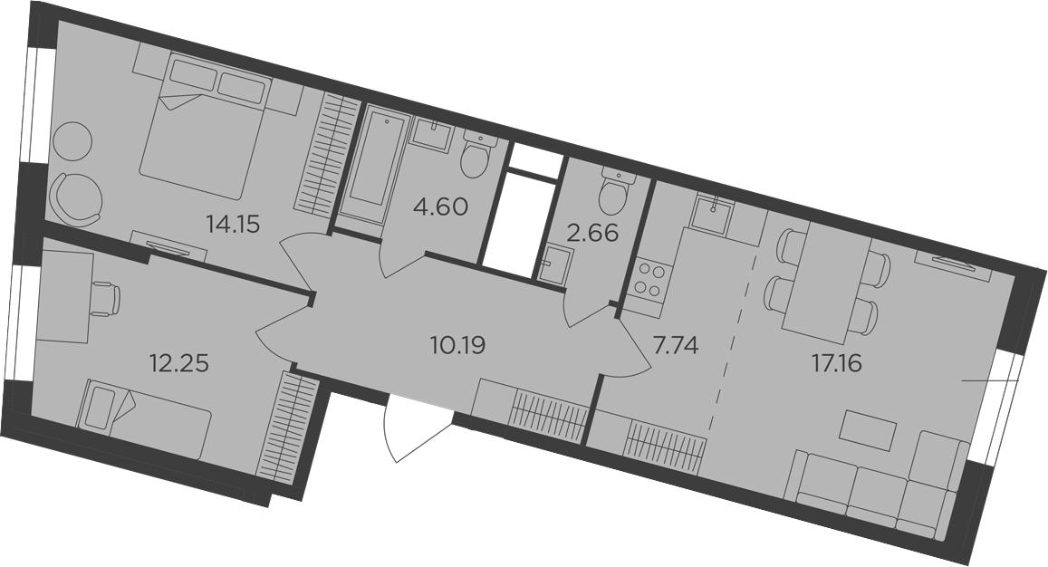 3Е-комнатная, 68.75 м²– 2
