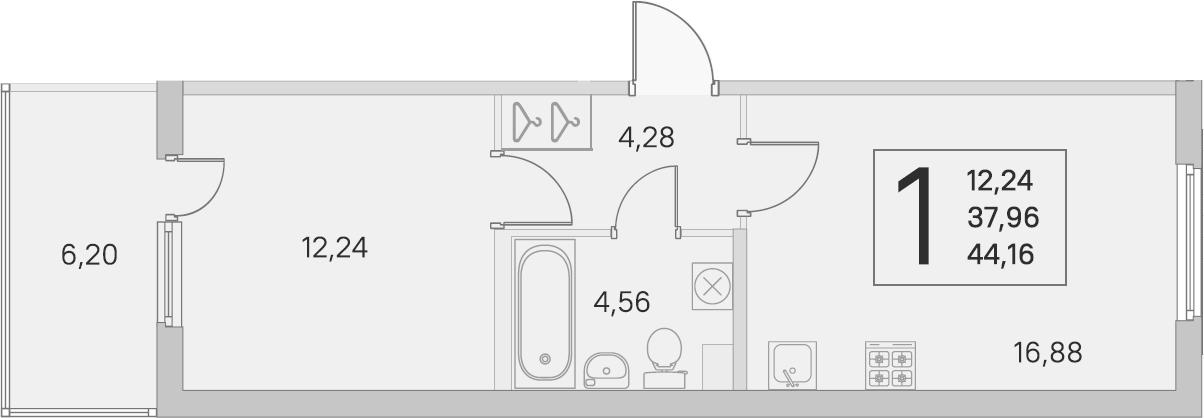 2Е-комнатная, 37.96 м²– 2