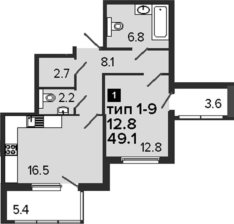 1-комнатная, 49.1 м²– 2