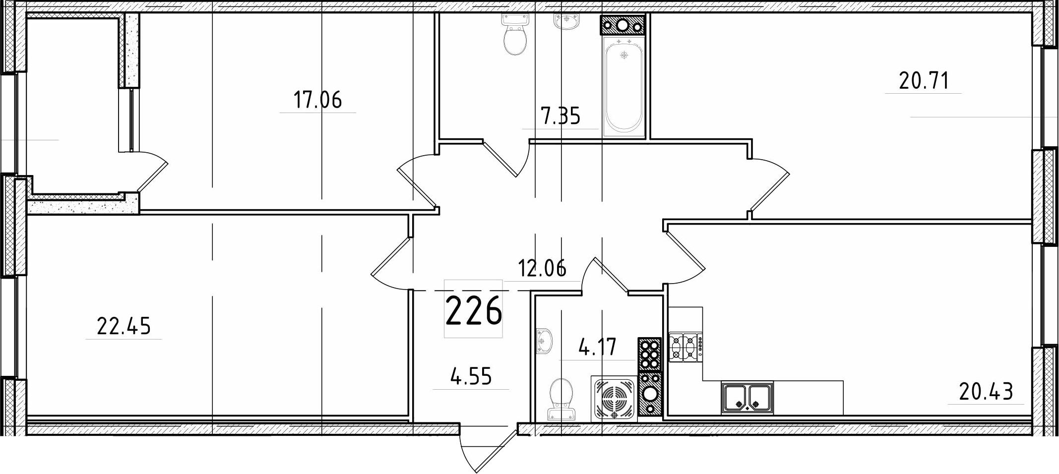 4Е-к.кв, 111.16 м², 7 этаж