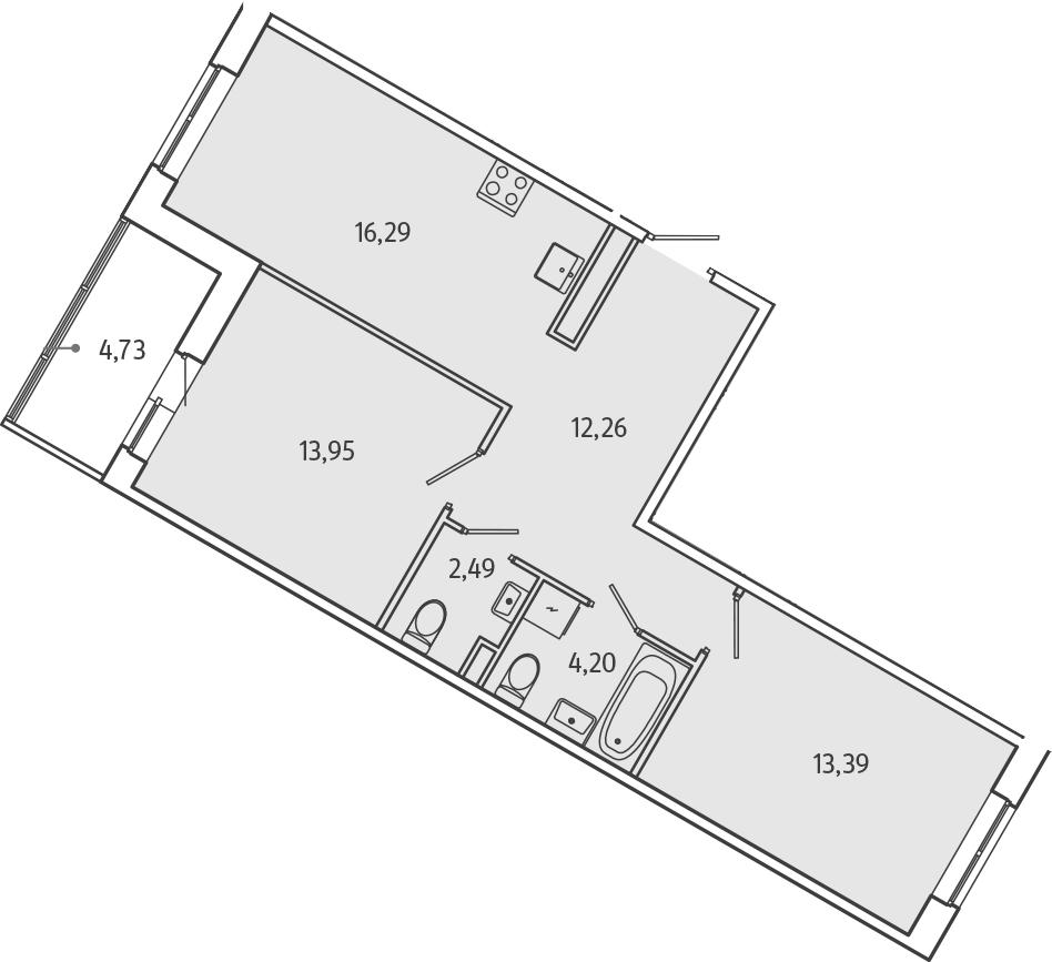 3Е-к.кв, 64.95 м², 1 этаж