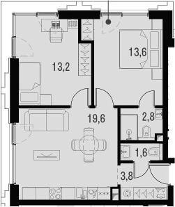 3Е-к.кв, 54.6 м², от 17 этажа