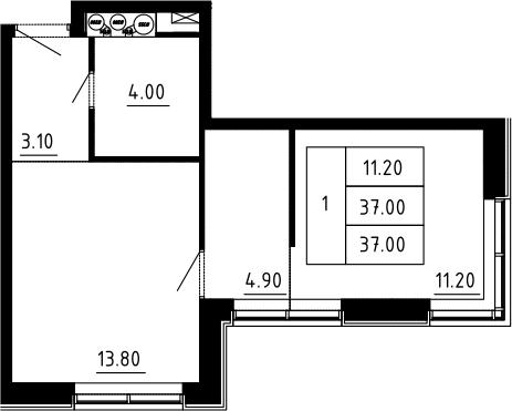 1-к.кв, 37 м², 12 этаж