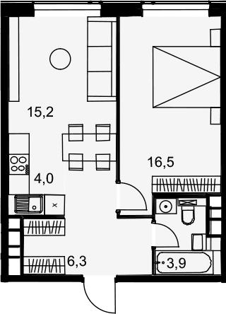 2Е-комнатная, 45.9 м²– 2