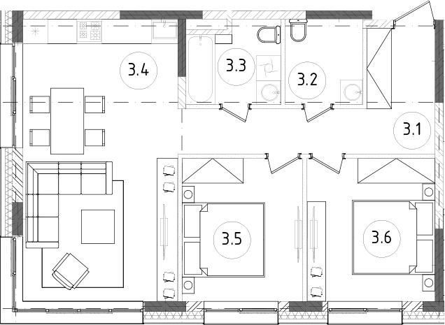 3Е-к.кв, 64.88 м²