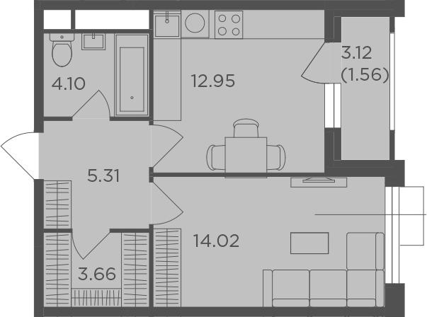 1-к.кв, 43.16 м²
