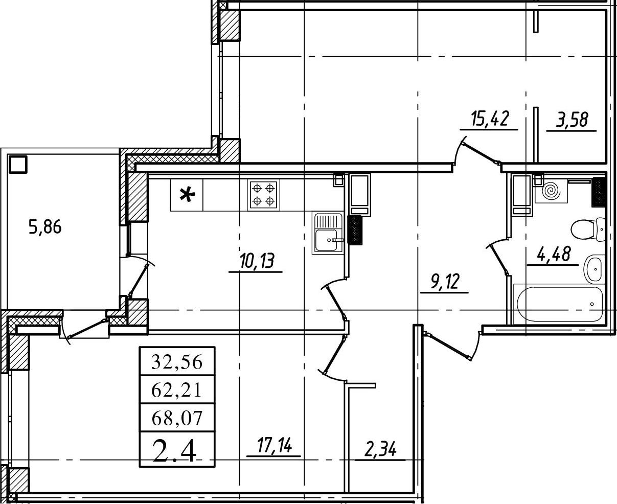 2-к.кв, 62.21 м²