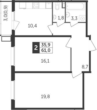 2-комнатная, 61 м²– 2