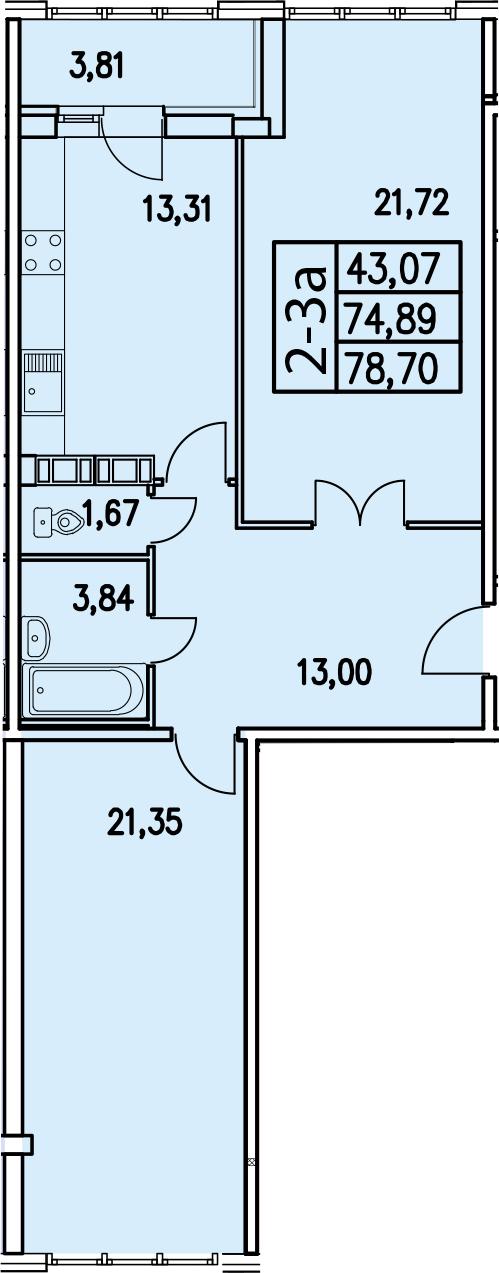2-к.кв, 78.68 м²