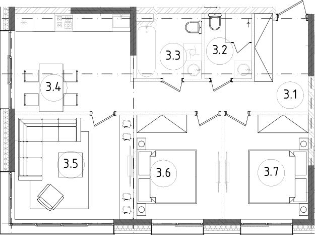 3-к.кв, 64.73 м²