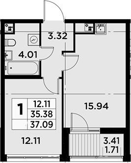 2Е-к.кв, 37.09 м²