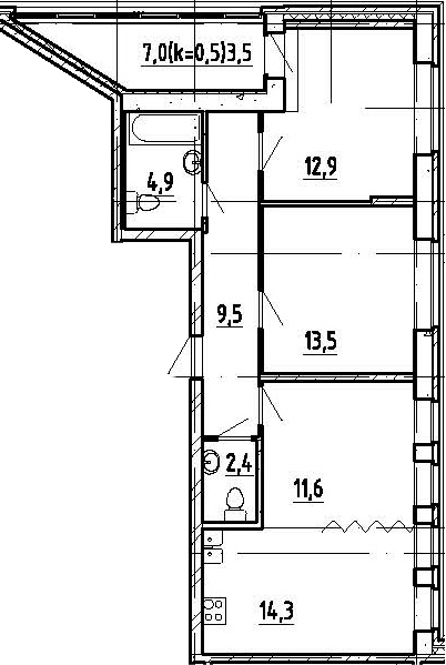 3-к.кв, 72.6 м²