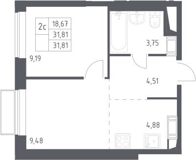 2Е-комнатная, 31.81 м²– 2