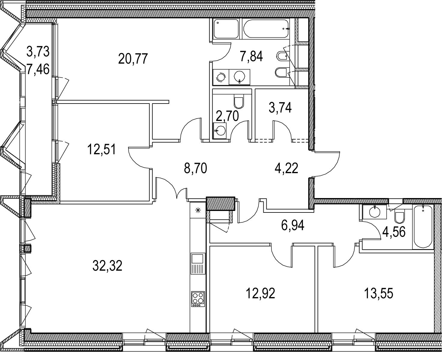 5Е-к.кв, 134.5 м², 10 этаж