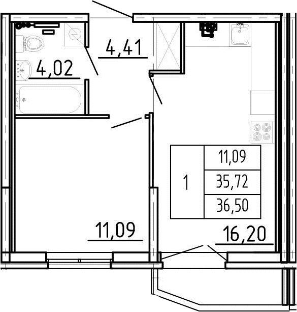 2Е-комнатная, 36.5 м²– 2