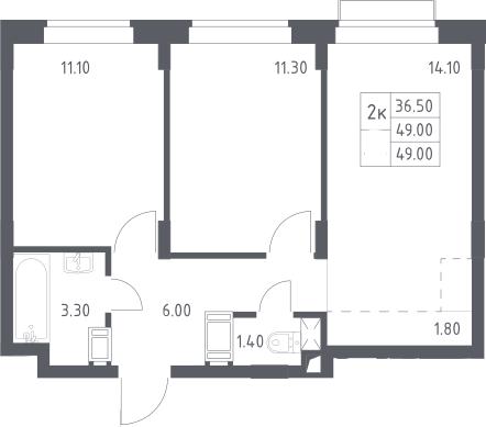 3Е-к.кв, 49 м²