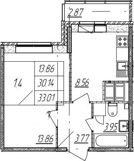 1-комнатная, 30.14 м²– 2