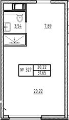 Студия, 31.65 м²– 2