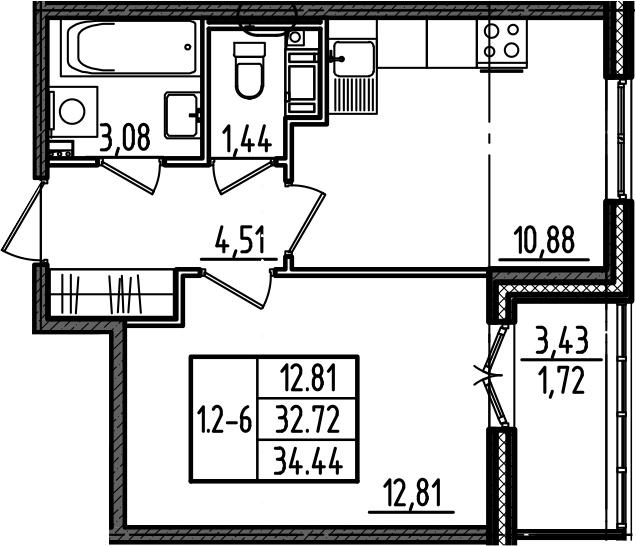 1-комнатная, 34.44 м²– 2