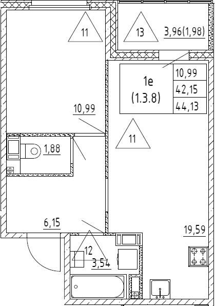 2Е-к.кв, 44.13 м², от 3 этажа