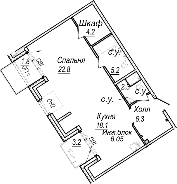 2Е-к.кв, 65.3 м²