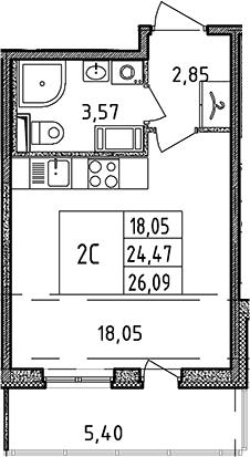 Студия, 24.47 м², от 4 этажа