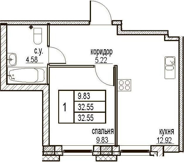 1-комнатная, 32.55 м²– 2