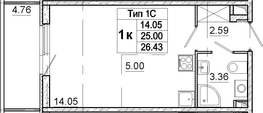 Студия, 29.76 м²