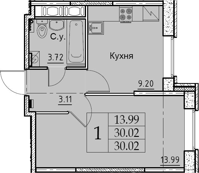 1-к.кв, 30.02 м², 2 этаж