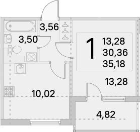 1-к.кв, 32.77 м², от 3 этажа