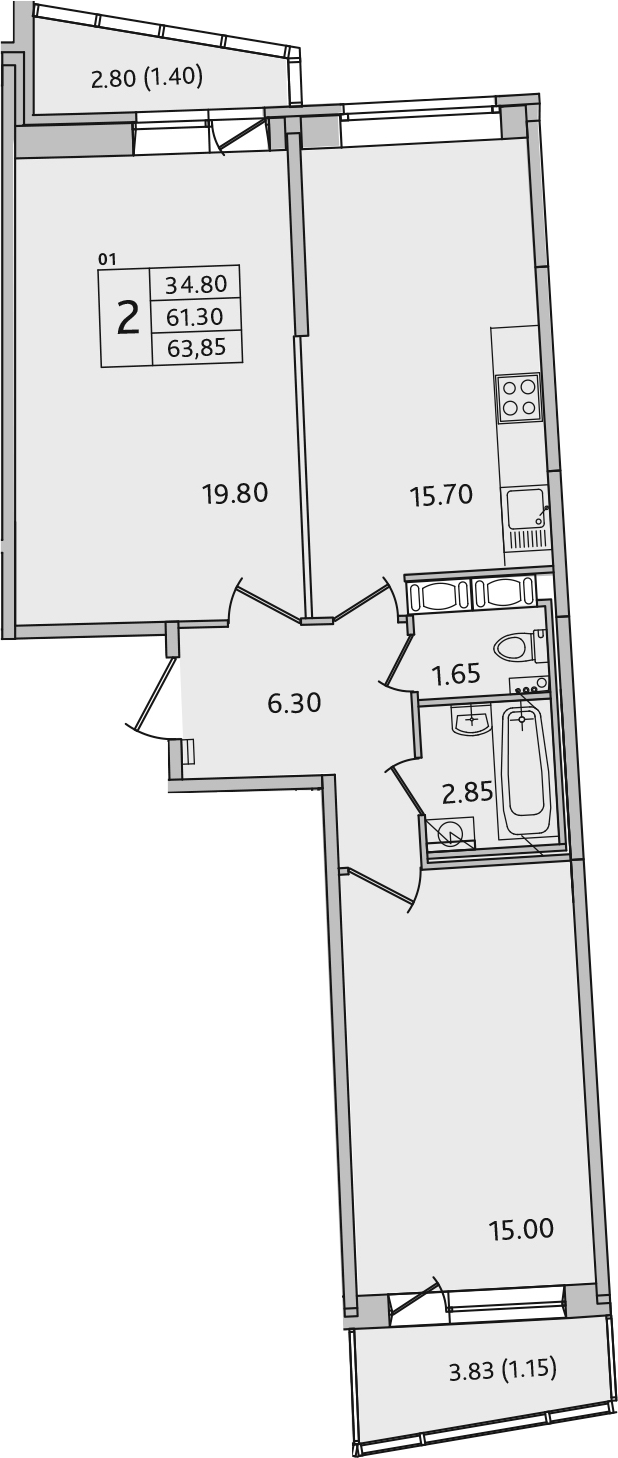 3Е-комнатная, 63.85 м²– 2