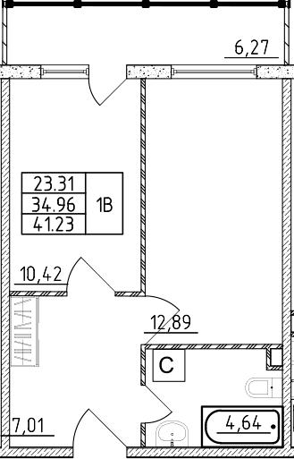 1-к.кв, 41.23 м²