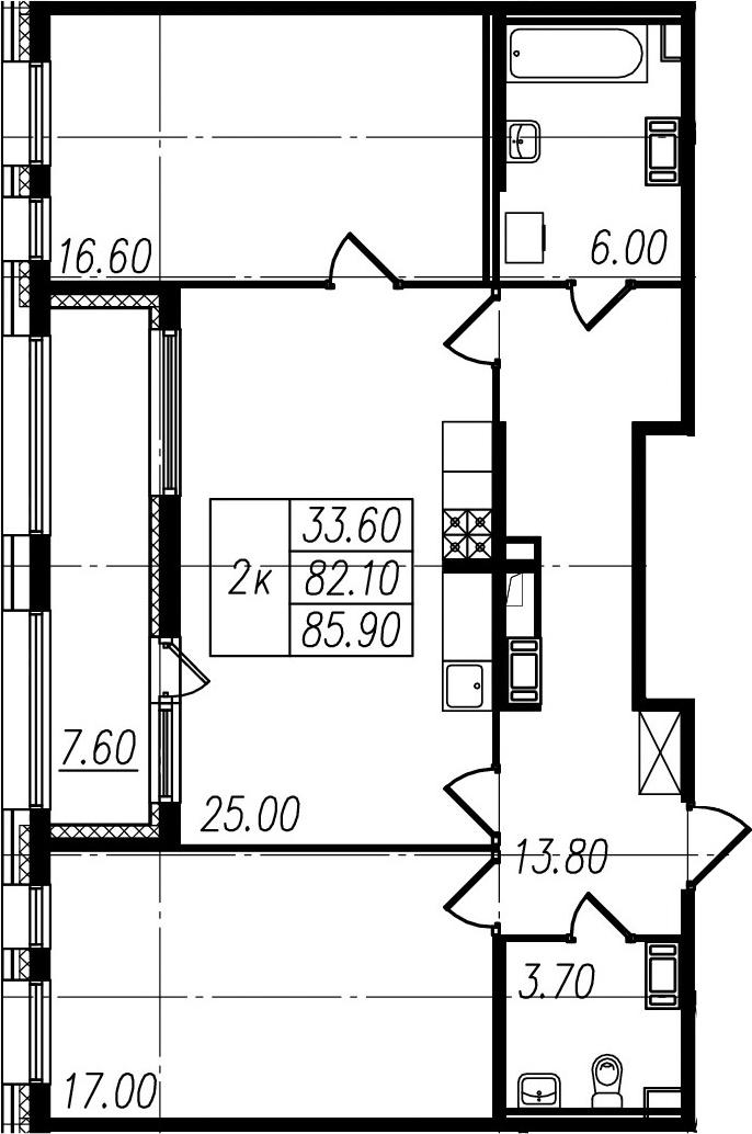3Е-комнатная, 82.1 м²– 2