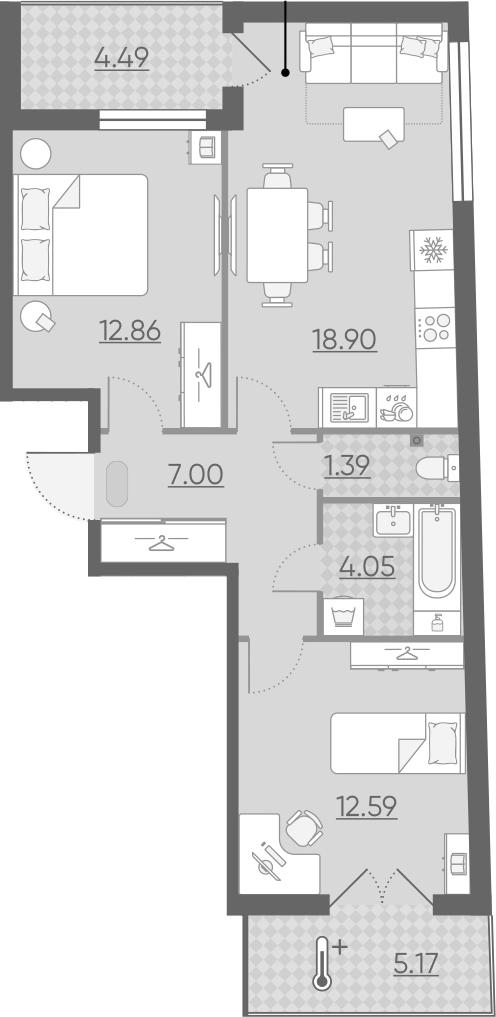 3Е-к.кв, 61.63 м²