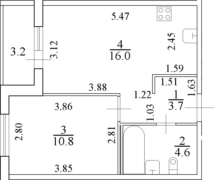 2-к.кв (евро), 38.3 м²
