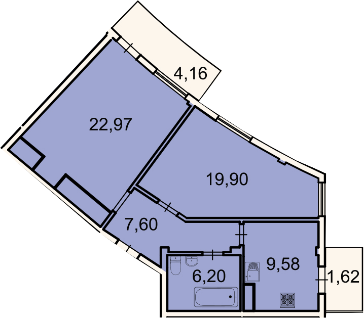2-к.кв, 68 м², 3 этаж