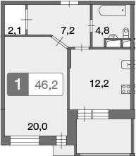1-к.кв, 46.3 м²