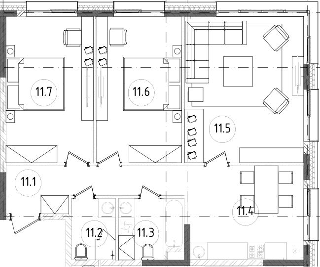 3-к.кв, 77.12 м², 9 этаж