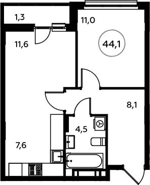 2-к.кв (евро), 45.4 м²