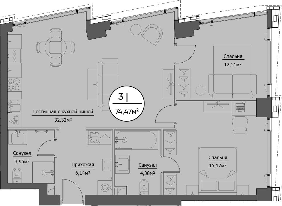 3Е-к.кв, 74.47 м²