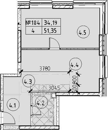 2Е-к.кв, 51.35 м², 20 этаж
